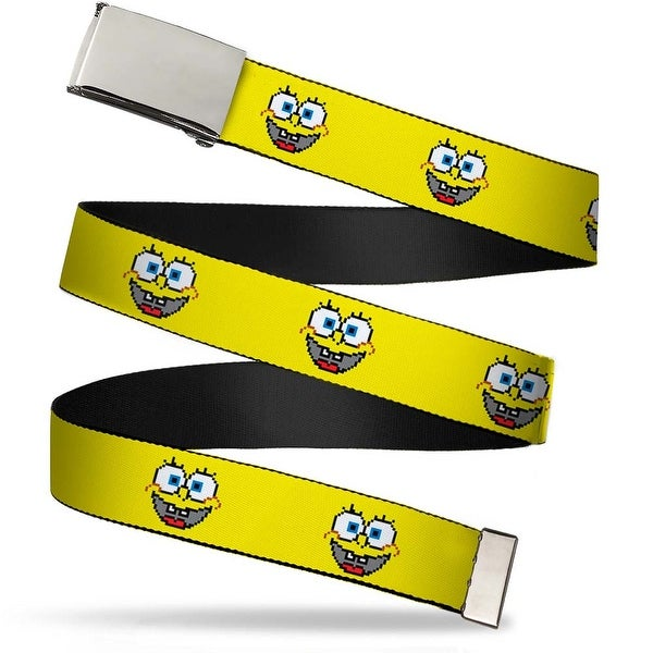 Blank Chrome Buckle SpongeBob 8 Bit Smile Yellow Webbing Web Belt