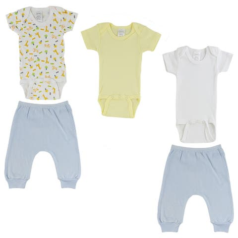 """Pack of 5 Yellow and Blue Newborn Short Sleeve Onesies and Joggers for 0 to 6 Months, 8"""""""