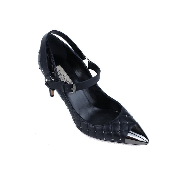 d8b0412274c3d Shop Valentino Black Leather Mary Jane Quilted Rockstud Pumps - Free ...