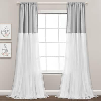 "Lush Decor Tulle Skirt Colorblock Window Curtain Panel Pair - 84"" x 40"""