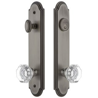 """Grandeur ARCCHM_TP_ESET_238  Arc Solid Brass Tall Plate Single Cylinder Keyed Entry Set with Chambord Crystal Knob and 2-3/8"""""""