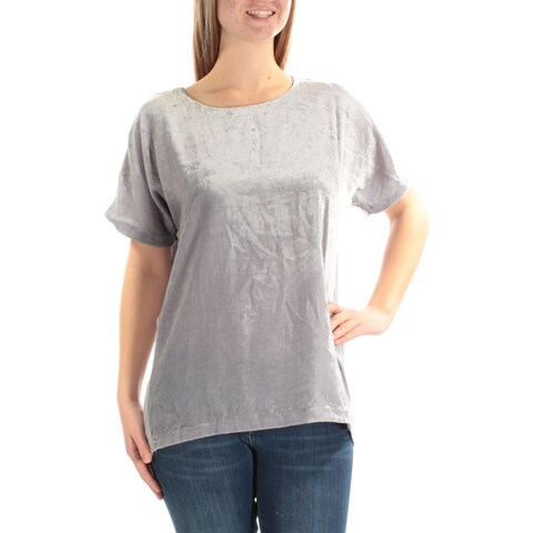 LUCKY BRAND Womens Silver Velvet Short Sleeve Jewel Neck Top Size: M