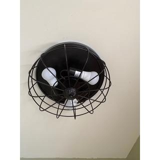 CO-Z 15-inch Industrial 3-light Metal Steel Cage Ceiling Flush Mount