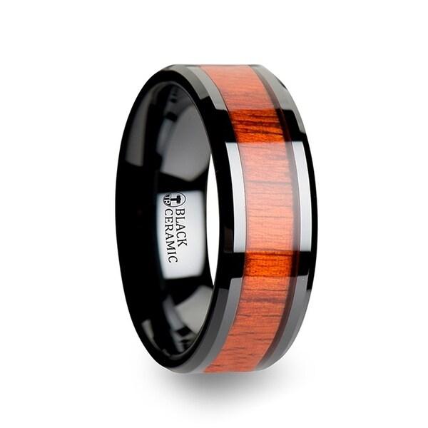 Bosulu Black Ceramic Ring With Polished Bevels And Padauk Real Wood Inlay