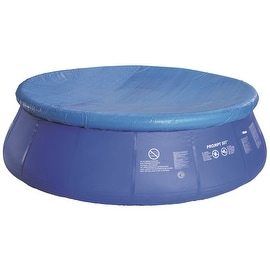 18.4' Durable Apertured Round Blue Swimming Pool Cover with Rope Ties