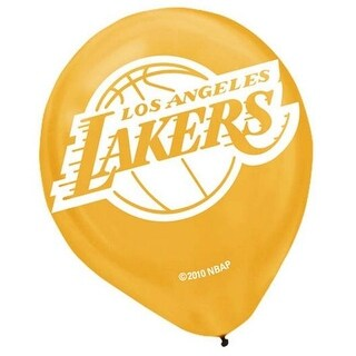 Amscan 113627 Los Angeles Lakers Latex Balloon - 12 in. - Pack of 72