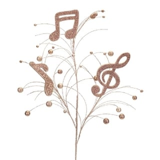 Club Pack of 12 Brown and Gold Decorative Artificial Musical Note Sprays 34""