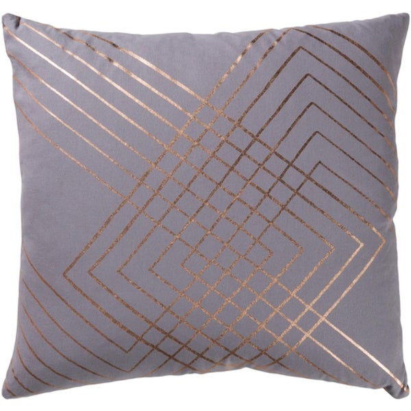 """22"""" Moon Gray and Copper Decorative Throw Pillow-Down Filler"""