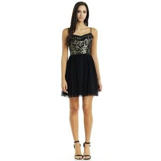 Jack Juniors Carrian Sequin Bodice Black Mesh Dress
