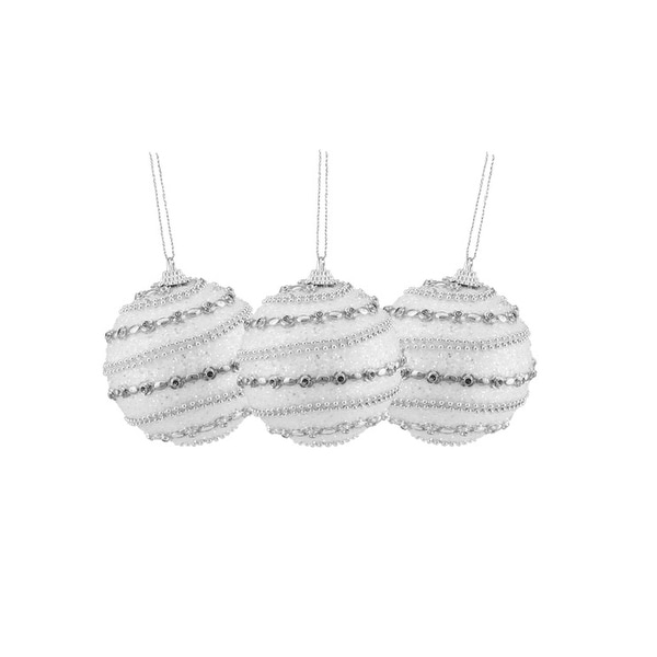 "3ct White and Silver Beaded Shatterproof Christmas Ball Ornaments 3"" (75mm)"