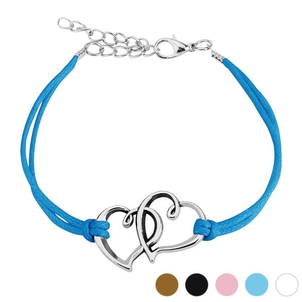 Two Hearts Cast Iron Leatherette Bracelet with Lobster Claw Clasp (19 mm) - 7.5 in