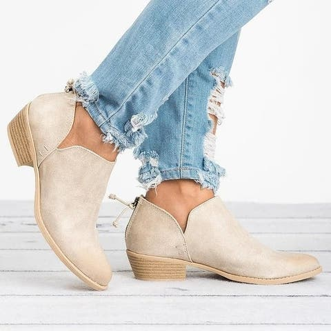 Thick Heel Pointed Toe Single Shoes Low Heel Ladies Short Boots