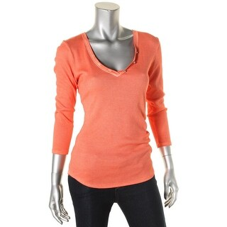 Guess Womens Pullover Top Henley Faded - l