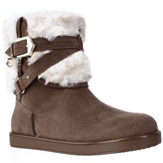 G by GUESS Alixa Fuzzy Lined Pull On Short Winter Boots, Medium Natural