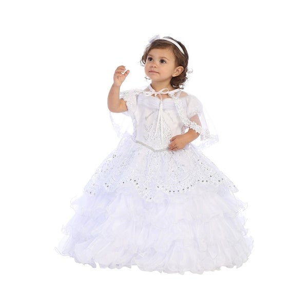 ab1e26094 Shop Angels Garment Baby Girls White Satin Organza Embroidered Baptism Dress  - Free Shipping Today - Overstock - 23140562