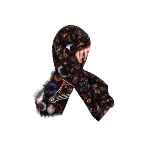 b3f5cfd86 Givenchy Womens Black Floral Raw Edge Logo Cashmere Silk Star Scarf~RTL 995  - L