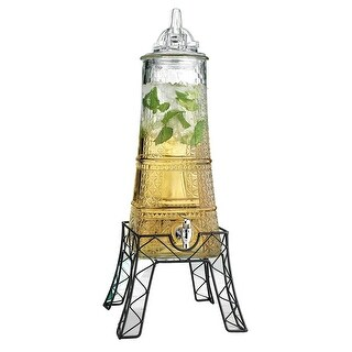 Palais Glassware Clear Glass Beverage Dispenser - 1.5 Gallon, with Glass Lid and Metal Stand (Eiffel Tower Shape)
