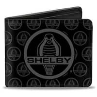 Shelby Cobra Center Monogram Black Gray Bi Fold Wallet - One Size Fits most