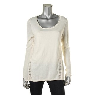Lucky Brand Womens Lace Inset Knit Raw Hem Casual Top