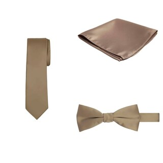 Jacob Alexander Regular Necktie Bowtie Pocket Square Matching 3 pc Set - One size