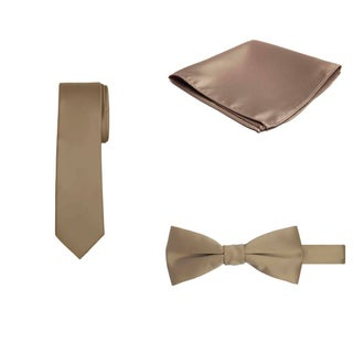 Jacob Alexander Regular Necktie Bowtie Pocket Square Matching 3 pc Set - One size (Option: Tan)