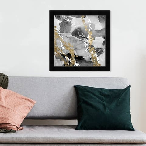 Oliver Gal 'Even More Love SILVER GOLD' Abstract Wall Art Framed Print Watercolor - Black, White