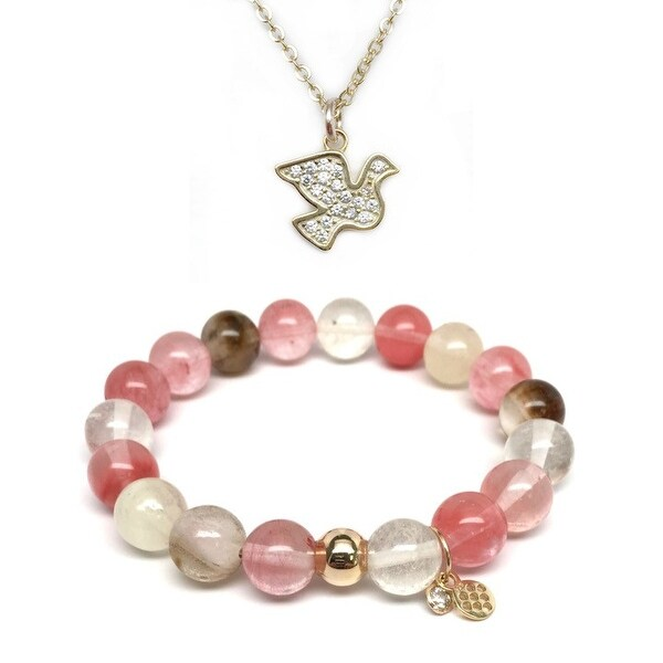 Pink Cherry Quartz Bracelet & CZ Dove Gold Charm Necklace Set