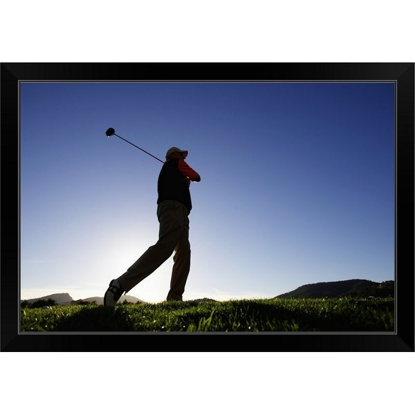 """""""Male golfer, low angle view"""" Black Framed Print"""