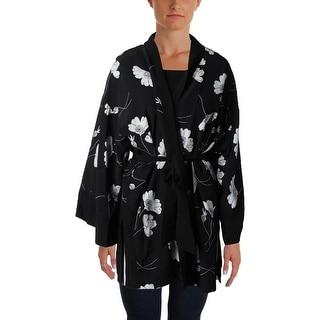 Lauren Ralph Lauren Womens Kimono Robe Silk Floral Print