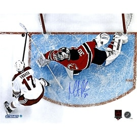 Martin Brodeur Signed Save with Career/Retirement logo 16x20 Photo ()