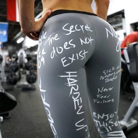 Women Letter Print Yoga Sports Hip-Lifting Leggings Fitness Bottom Pants Female Legging
