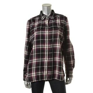 LRL Lauren Jeans Co. Womens Plaid Flannel Button-Down Top