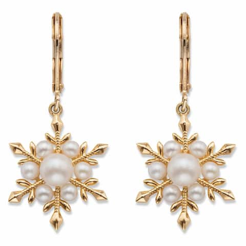 Yellow Gold Plated Snowflake Drop Earrings Round Simulated Pearl