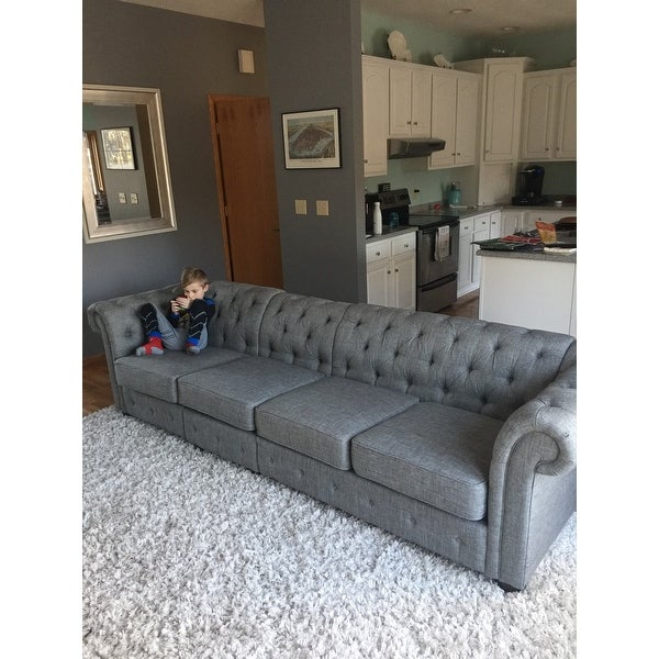 Shop Knightsbridge Grey Extra Long Tufted Chesterfield Modular Sofa By  INSPIRE Q Artisan   On Sale   Free Shipping Today   Overstock.com   14045508
