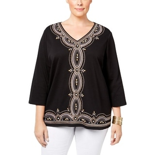 Alfred Dunner Womens Plus Blouse Embroidered Embellished