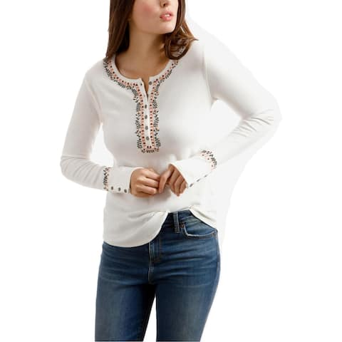 Lucky Brand Womens Novelty Henley Top Embroidered Long Sleeves