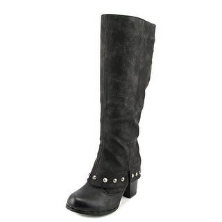 2 Lips Too Too Listed Women Round Toe Synthetic Black Knee High Boot