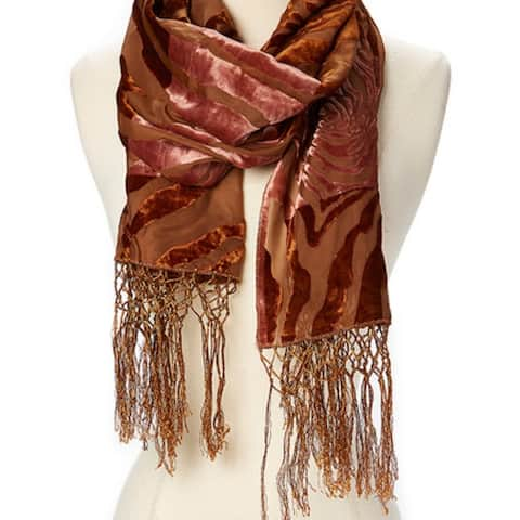 Woman Burn Out Velvet Scarf With Tassels Holiday Season Gift Winter Fashion Accessories It Comes In Multiple Colors