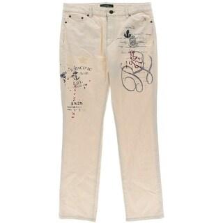 LRL Lauren Jeans Co. Womens Printed Applique Jeans