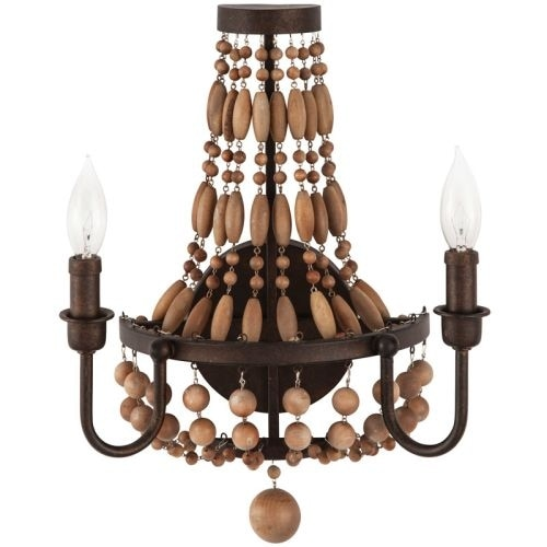 "Park Harbor PHWL3152 Casa Maya 13"" Wide 2 Light Wall Sconce with Wood Bead Accents"