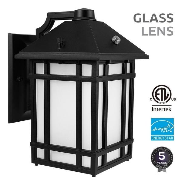 14W Dusk to Dawn LED Exterior Wall Lantern, ENERGY STAR, 3000K, 1000Lm