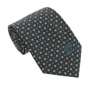 Versace Forest Green Woven Floral Neat Tie