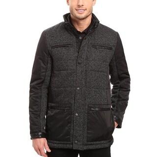 Calvin Klein Mens Mixed-Media Quilted Pea Coat Large L Black & Grey Jacket