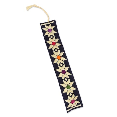 "Handmade Star Flowers Cotton Bookmark (Mexico) - 7.75"" L x 1.2"" W"
