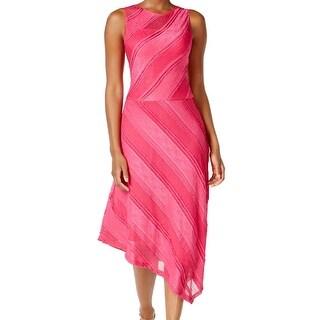 Sangria Pink Women's Size 8 Striped Assymetrical Sheath Dress