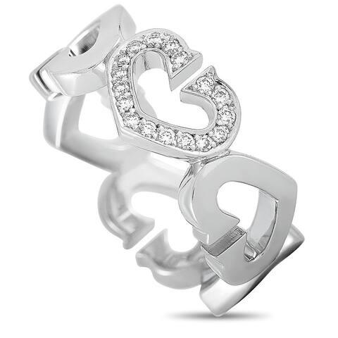 Cartier White Gold Diamond Heart Ring Size 6