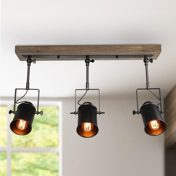 "LNC Modern Farmhouse Wood Track Lighting Spotlights 3-Lights Ceiling Light Fixture - 24.8""x 4.7"" x 15.3"". Opens flyout."