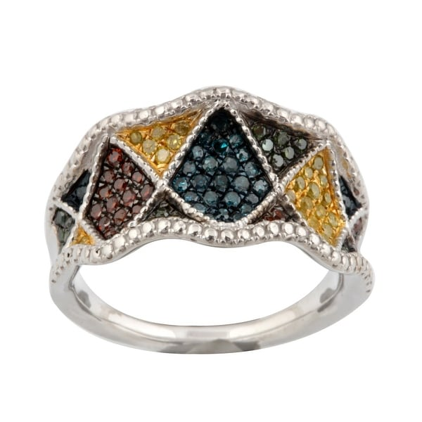 Fabulous 0.53ct Round Brilliant Cut Real Multi Color Diamond Designer Ring
