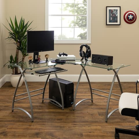 Porch & Den Vale Silver Metal/ Glass L-shaped Computer Desk