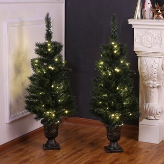 Link to Set of 2 4-Ft Pre-Lit Artificial Green PVC Porch Trees Similar Items in Christmas Greenery